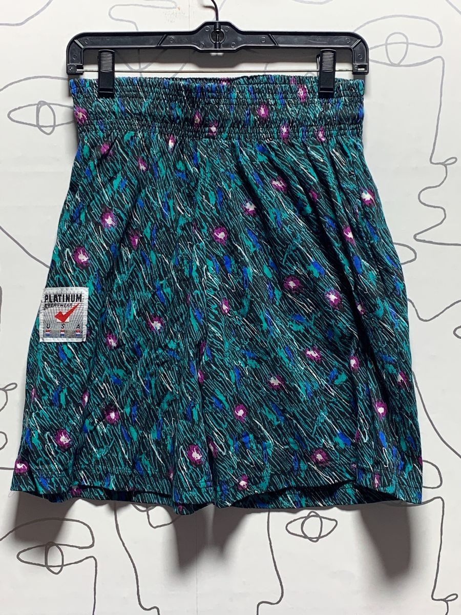FUN 20S DEADSTOCK SCRIBBLE ABSTRACT PRINT COTTON SHORTS ...