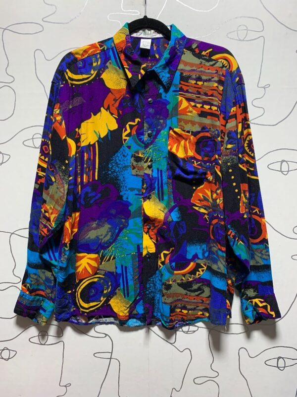 product details: RADICAL 1990S VIBRANT COLORED & PRINT LONG SLEEVE BUTTON UP SHIRT photo