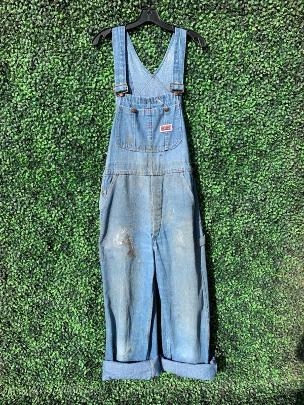 product details: RETRO HEAVILY DISTRESSED MEDIUM WASHED SUPER SOFT DENIM OVERALLS photo