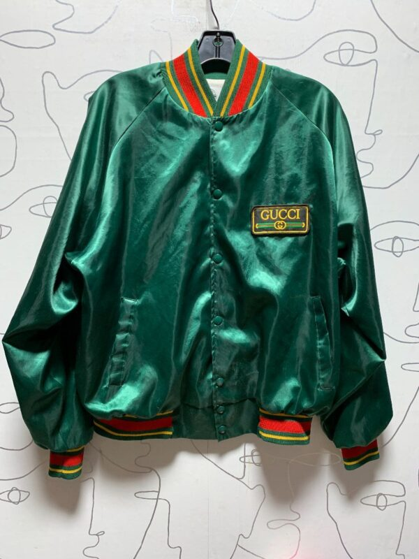 product details: GUCCI COLORWAY PATCH SATIN BUTTON UP BOMBER JACKET photo
