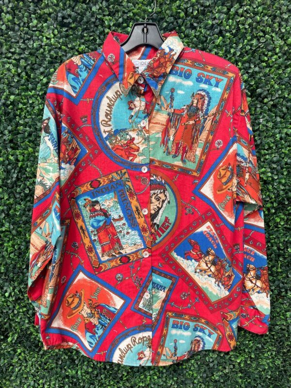 product details: UNREAL ALLOVER COWBOYS & INDIANS  WESTERN PRINT LONG-SLEEVE BUTTON UP SHIRT W/ COLLAR TIPS photo