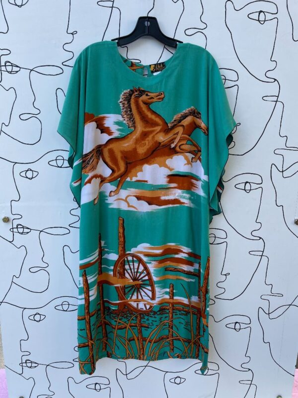 product details: AS IS - AMAZING VINTAGE RAYON HORSE PRINT KAFTAN DRESS photo