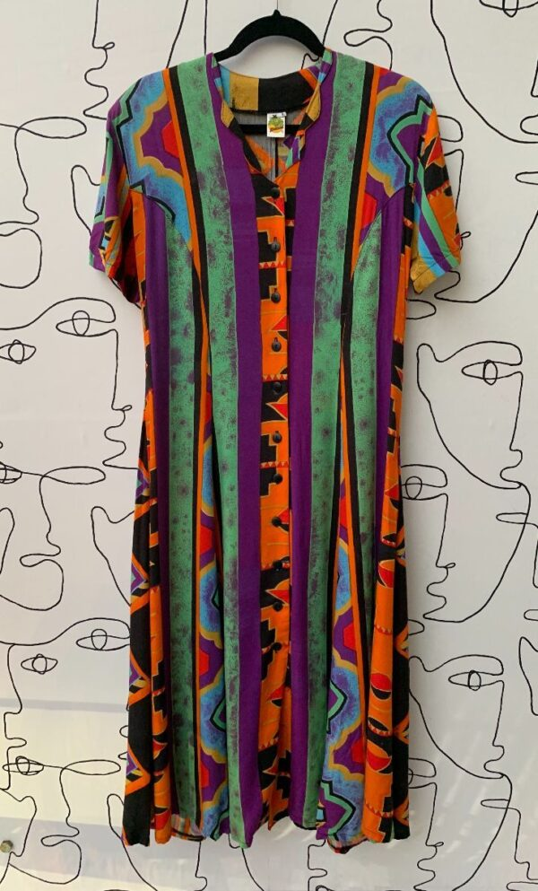 product details: BRIGHT FUNKY ABSTRACT PRINT SHORT SLEEVE BUTTON UP LONG DRESS photo