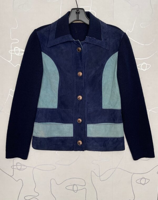 product details: 1970S WAFFLE KNIT TWO TONE SUEDE PATCHWORK COLLARED BUTTON UP JACKET photo