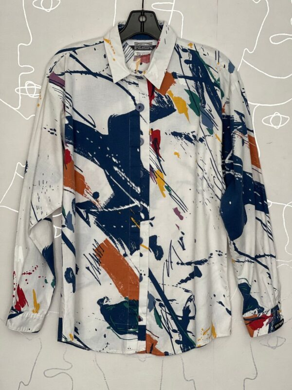 product details: 1980S-90S ABSTRACT SPLATTER PAINT PRINT LONG SLEEVE BUTTON UP SHIRT photo