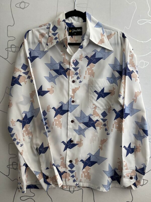 product details: 1970S POLYESTER CRANE PAPER ORIGAMI PRINT LONG SLEEVE BUTTON UP SHIRT photo