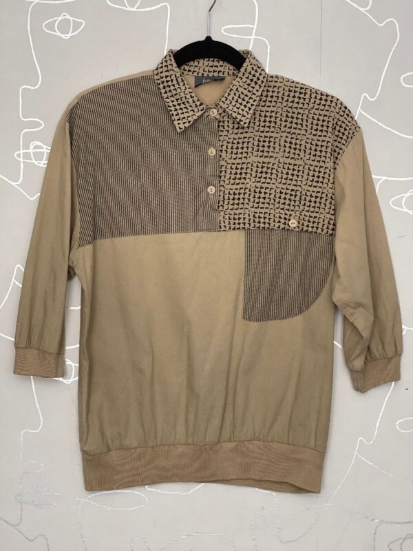product details: 1980S MULTI PRINTED QUARTER BUTTON UP 3/4 SLEEVE COLLARED SHIRT photo