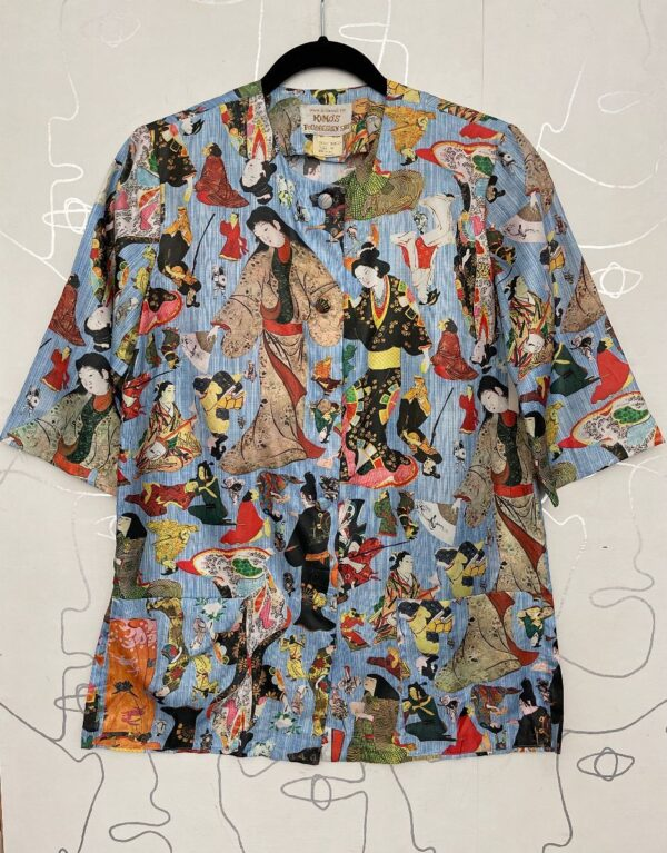 product details: 1960S ALL OVER JAPANESE FIGURE PRINT SHORT SLEEVE BUTTON UP SHIRT photo