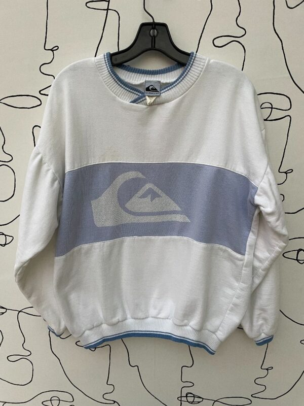 product details: 1980S QUICKSILVER COLOR BLOCK PASTEL CREWNECK SWEATER WITH RIBBED DETAILING photo