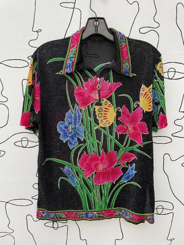 product details: 1990S / Y2K SHEER SPARKLY ZIP UP COLLARED TOP WITH FLORAL BUTTERFLY PRINT photo
