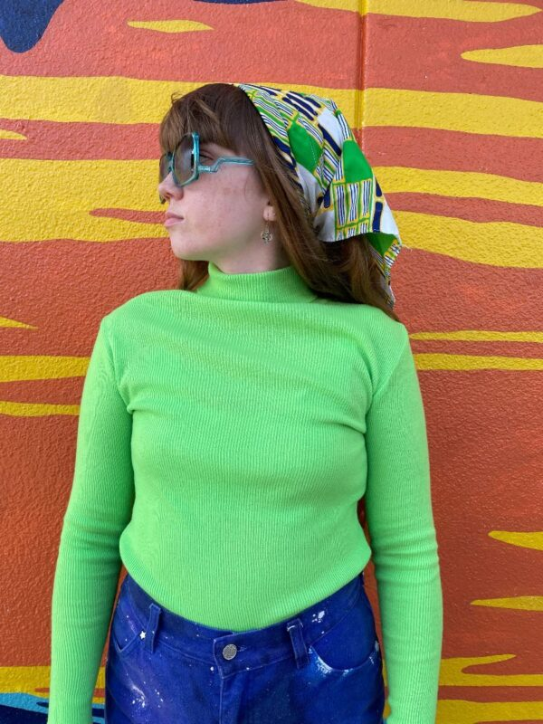 product details: 1960S BRIGHT NEON SOLID KNIT LONG SLEEVE STRETCHY TURTLE NECK SWEATER photo