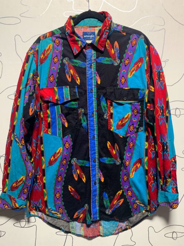 product details: BRIGHT 1990S COTTON WESTERN BUTTON UP SHIRT W/ FEATHER PRINT AS-IS photo