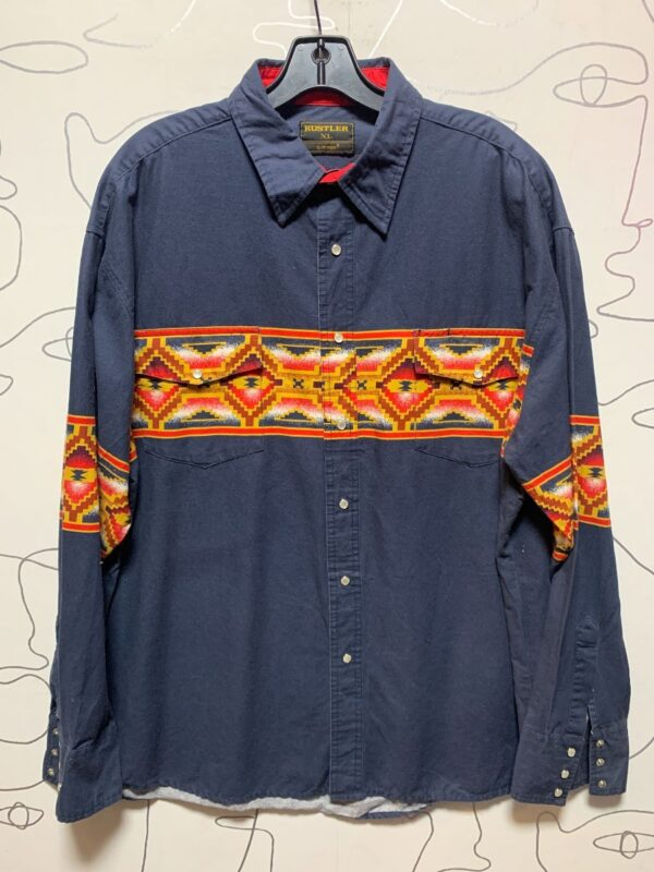 product details: SOUTHWESTERN PRINT LONG SLEEVE BUTTON DOWN WESTERN SHIRT W/ SNAP BUTTONS photo