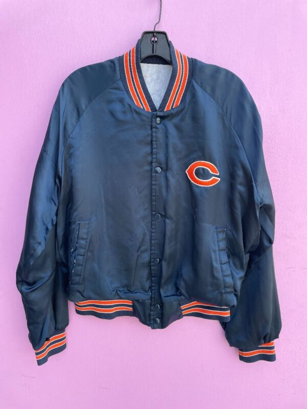 product details: AS-IS NFL CHICAGO BEARS SATIN BUTTON UP JACKET photo