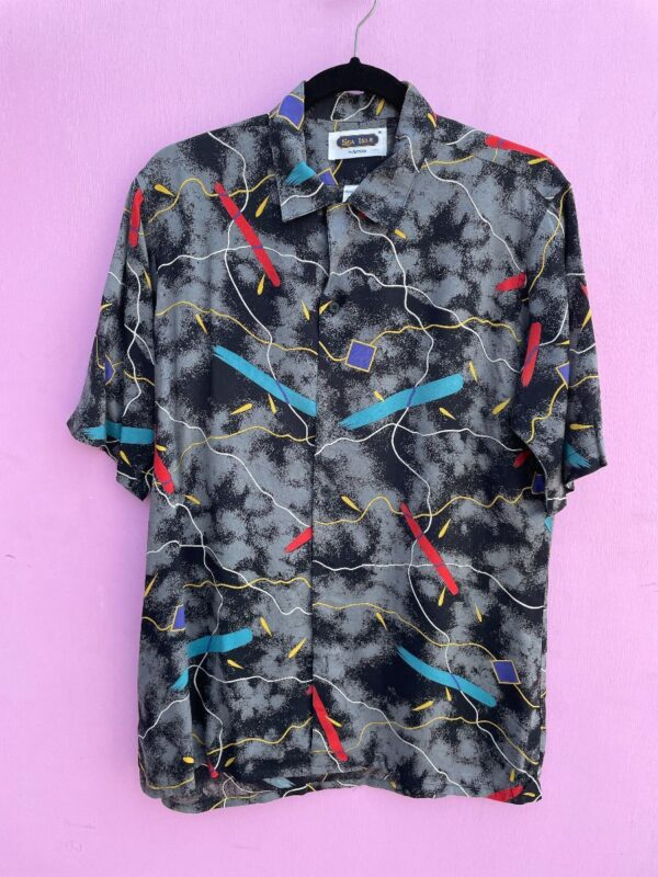 product details: RAD & FUNKY 1980S MEMPHIS MARBLE PRINT PATTERN SS BD SHIRT photo
