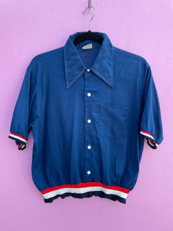 product details: SHORT SLEEVE BUTTON UP COLLARED BLOUSE WITH CINCHED WAIST photo