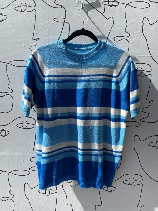 product details: AS IS 1960S STRIPED MOCK NECK SHORT SLEEVE KNIT TOP photo